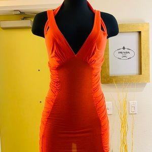 Neon orange fitted mini dress